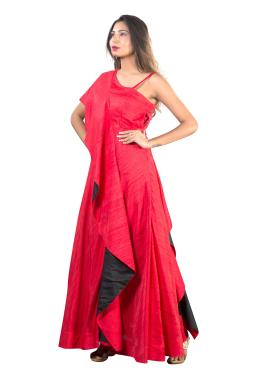 Red Raw Silk Party Gown