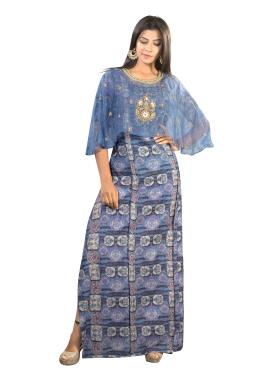 Blue Printed Modal Silk A-Line Gown With Cape