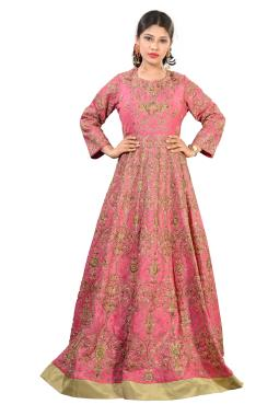 Pink Raw Silk Gown With All Over Zardosi Work