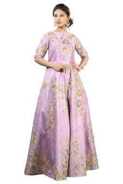 Lilac Raw Silk Gown With Zardosi And Sequence Work