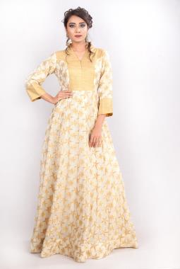 Off White Georgette Anarkali Gown