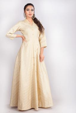 Off White Banarasi Silk Indowestern Gown