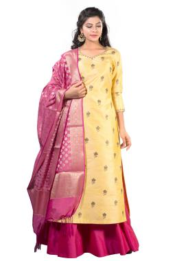 Yellow Raw Silk Zardosi Top With Skirt And Dupatta