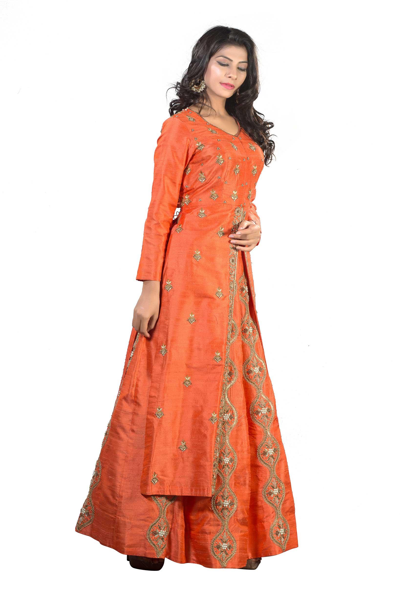 fa591ad704f26 Orange Raw Silk Long Top With Skirt And Dupatta With Zardosi Work