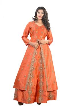 Orange Raw Silk Long Top With Skirt And Dupatta With Zardosi Work