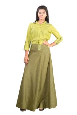 2bbd9704829ca Cotton Green Shirt With Resham Work And Chex Shirt