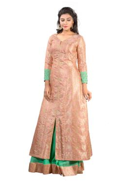 Peach And Pista Kinkhab Long Top Hand Work With Skirt