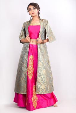 cb97417e14096 ... Pink Raw Silk Crop Top And Pitta Work Skirt With Kinkhab Jacket